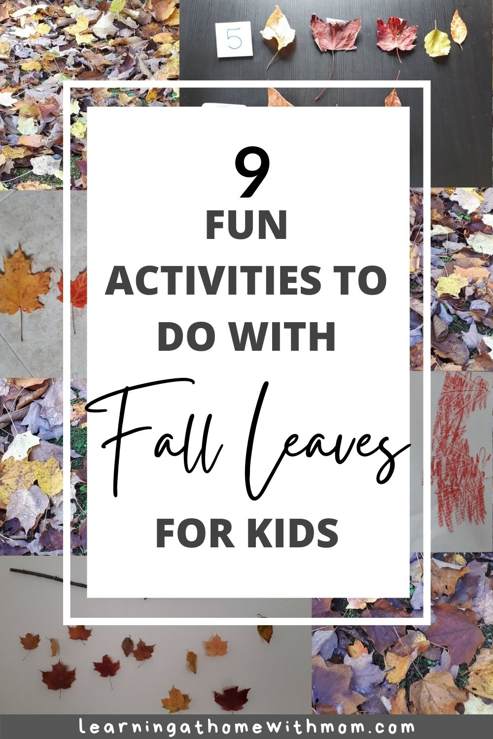 pin this post - 9 fun activities to do with fall leaves with kids