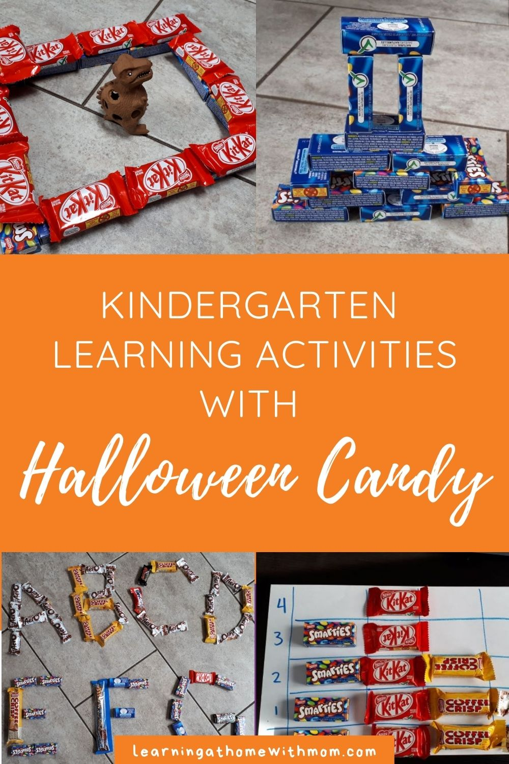 pin this post - kindergarten learning activities with halloween candy