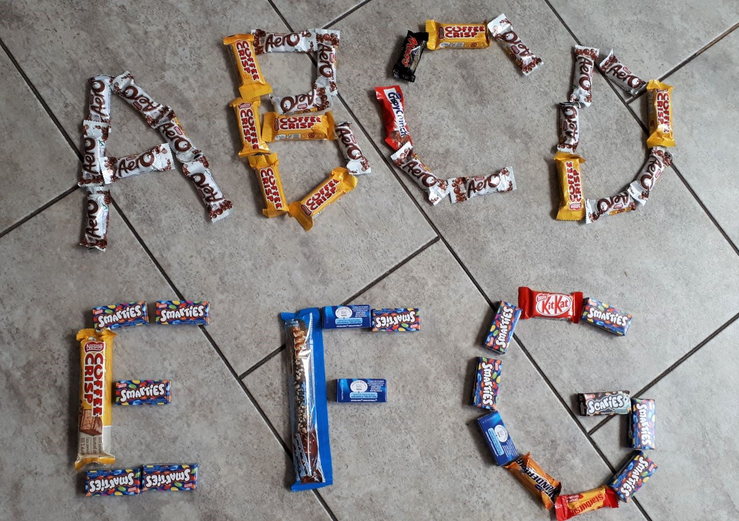 make letters with halloween candy